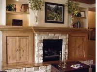 stone fireplace with side bookshelves | Fireplace Cabinets ...