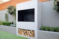 outdoor fireplace BBQ fire raised beds modern garden ...