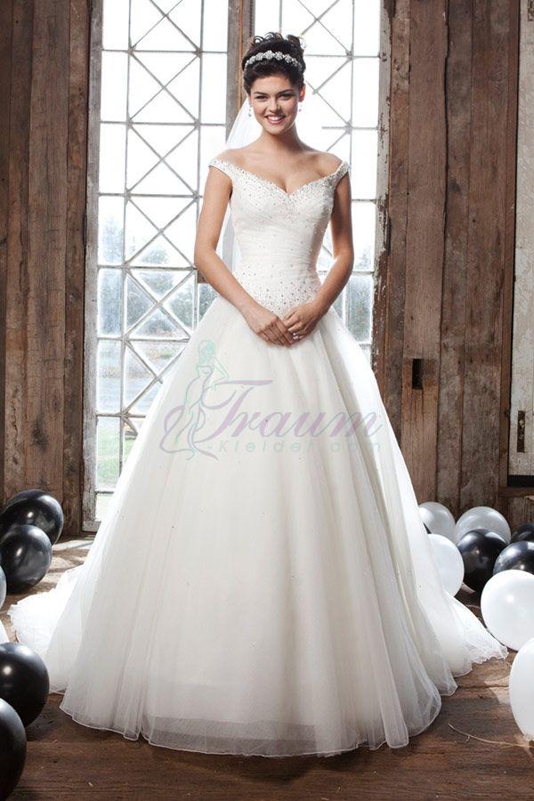 Prinzessin V Ausschnitt Tüll Kapelle Schleppe Elegantes Brautkleid