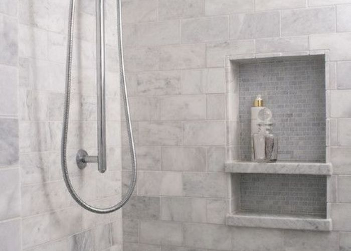 Heather garrett design bathrooms marble subway tile tiled shower also