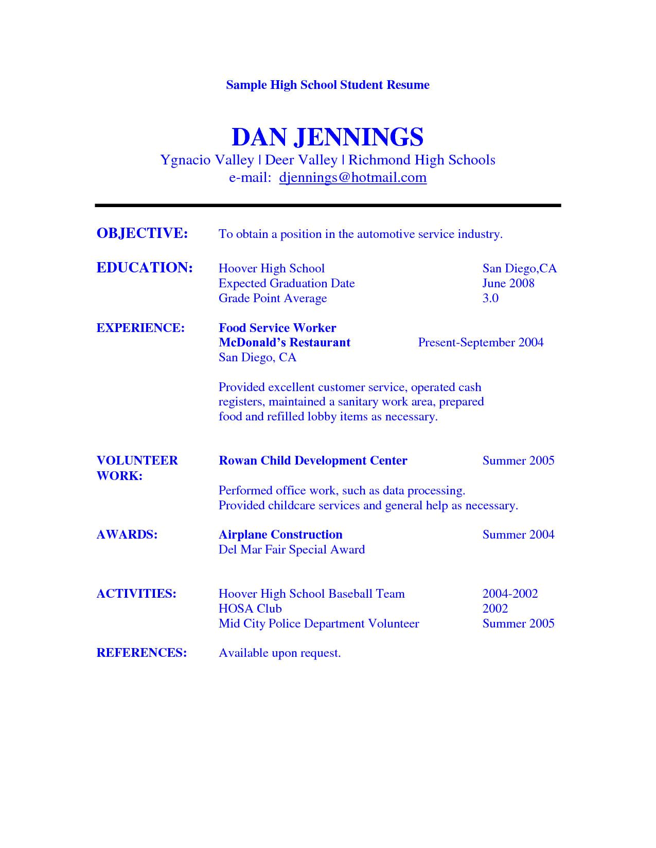 Captivating High School Student Resume Objective Examples Sample Resume  Example Of Resume For High School Student