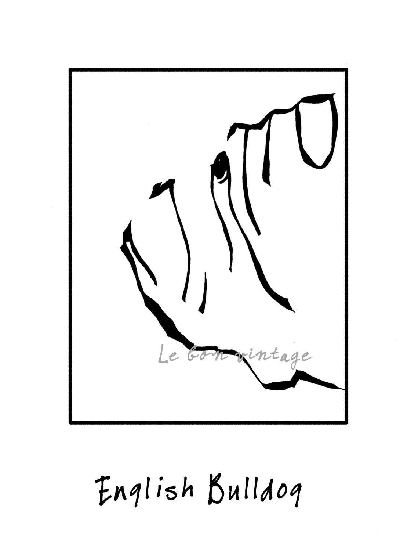 Instant Download Dog Art English Bulldog Print Black White