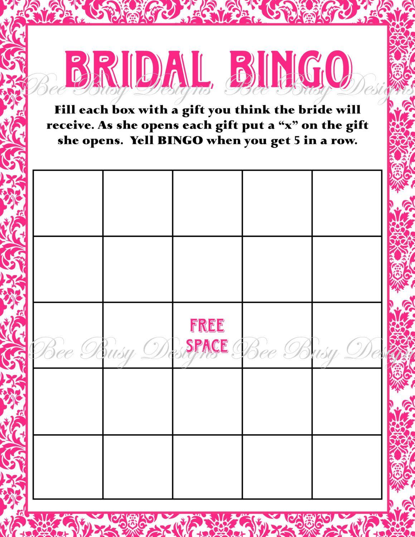 Bridal Shower Games Bingo Free Printables