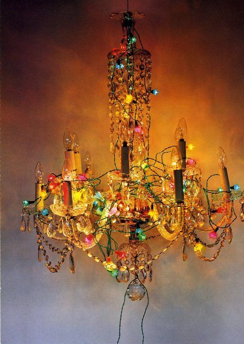 Bohemian Chandelier Add String Lights Colored And Beaded Chains