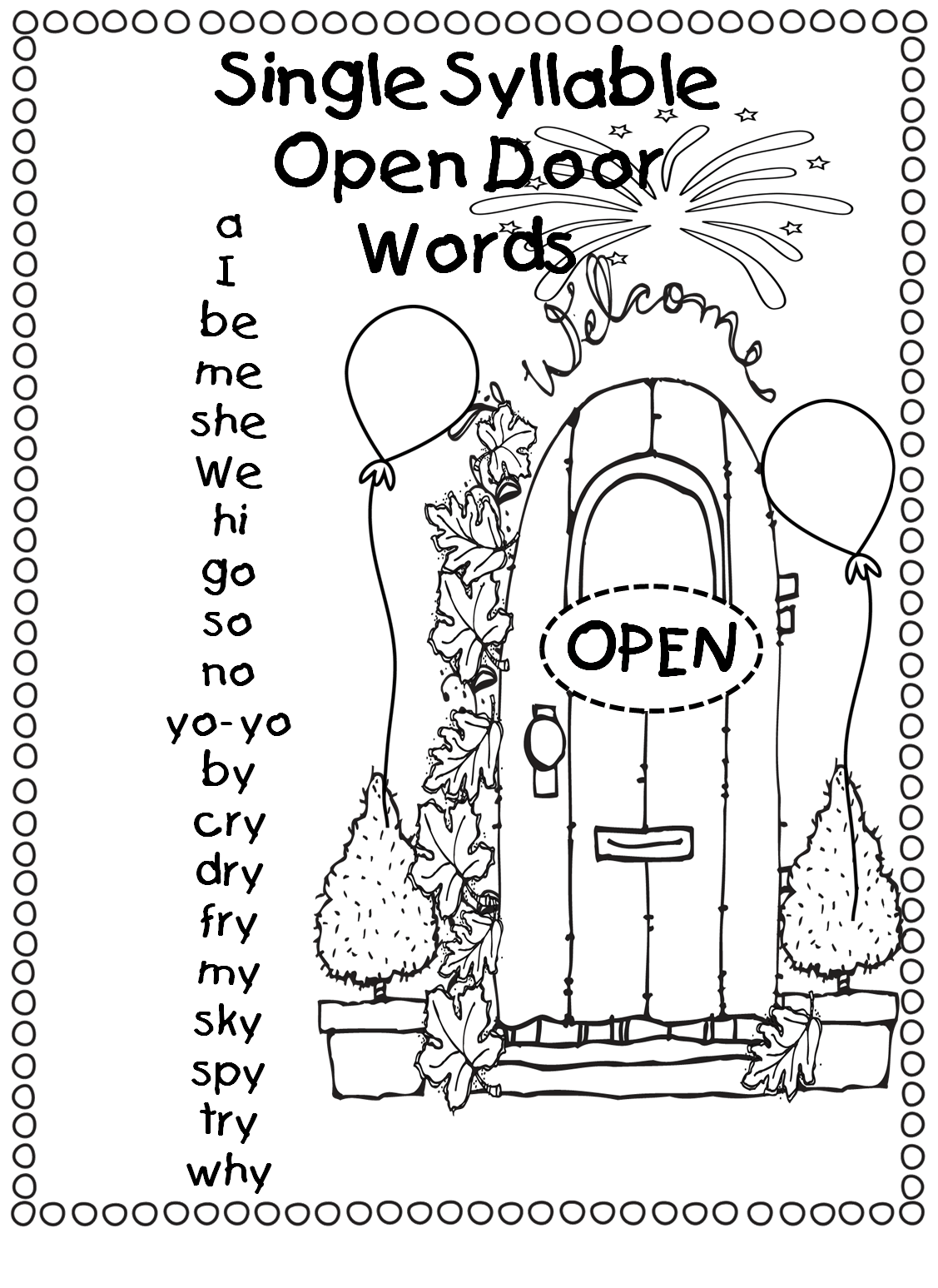 Free Open Syllable Worksheets