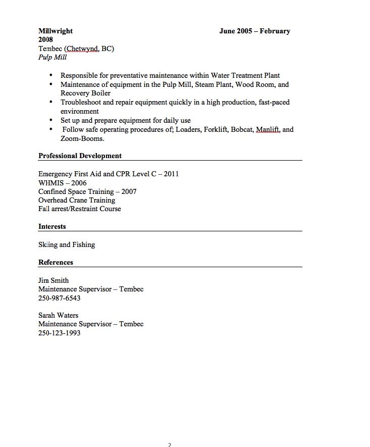 Millwright Resume Sample  httpresumesdesigncom