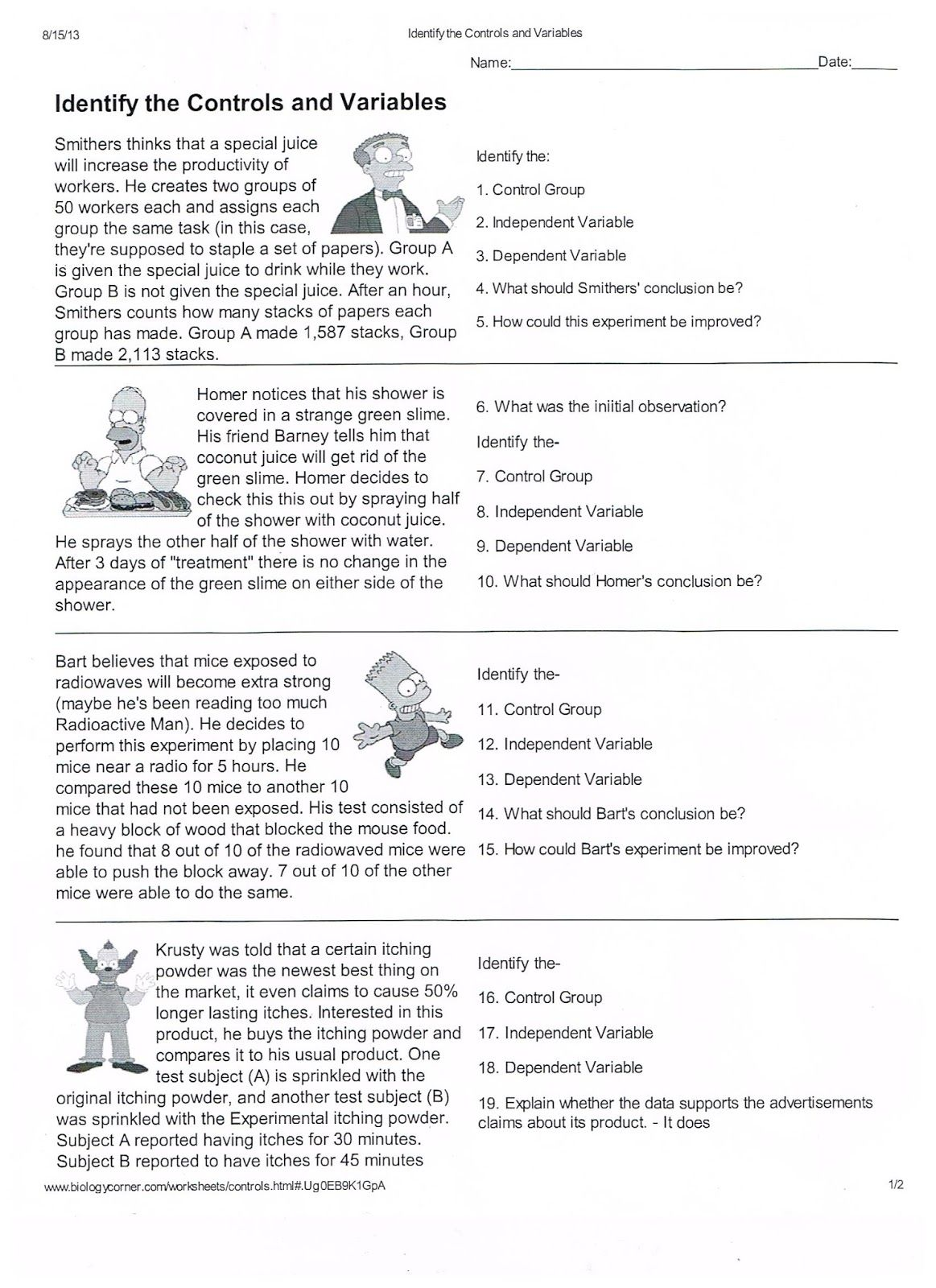 Hypothesis Worksheet Elementary