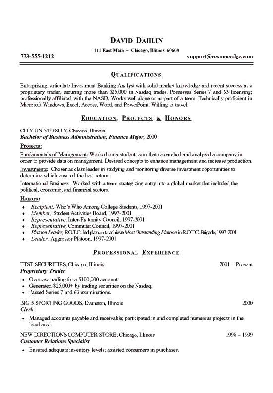 student job resume examples - Resume Format Examples For Students