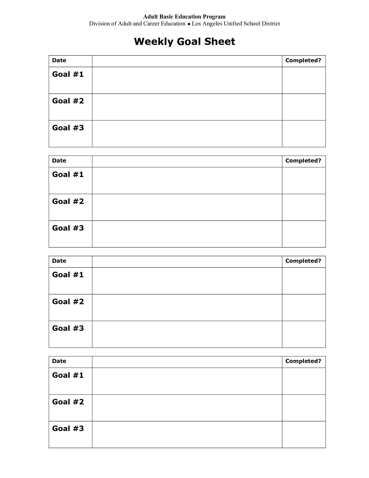 School Goal Setting Sheet
