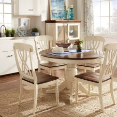 White Round Dining Room Table And Chairs Chair Leg Covers For Hardwood Floors The Design Of This 5 Piece Set From Mackenzie