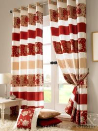 Jasmine Floral Red & Gold Taffeta Eyelet Lined Curtain ...
