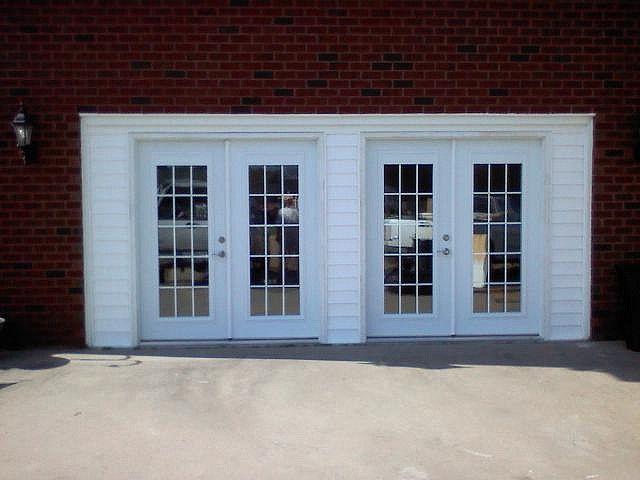 French doors  outside  Converted garage Garage doors