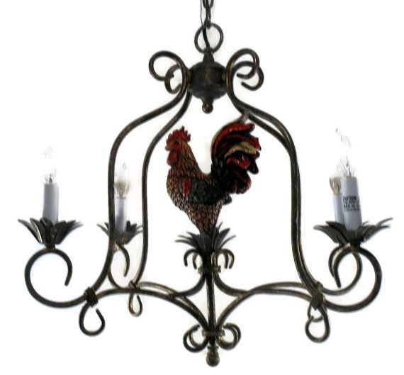Vintage Tuscan Style Rooster Chandelier Hanging 4 Light Sold