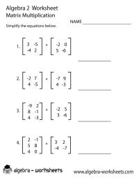 Matrix Multiplication Algebra 2 Worksheet   Algebra 2 ...