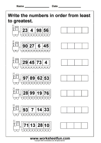 Least to greatest numbers - 4 worksheets | Printable ...