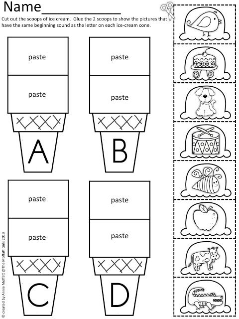 Beginning Sound Scoops! Color,cut and paste the beginning