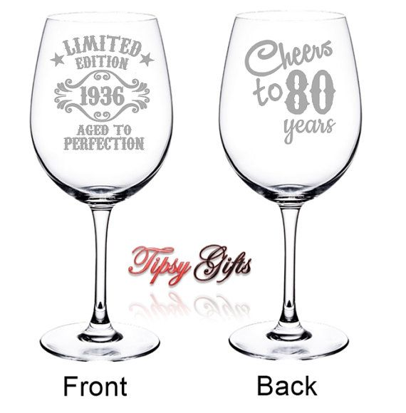 80th Birthday Gifts Wine Glasses Cheers to 80 Years by