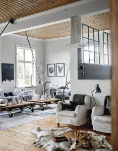 Love the ceilings and pallet coffee tables with casters greige interior design ideas inspiration for transitional home also industrial meets cabin indoor decor pinterest wood rh