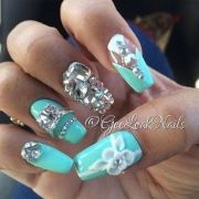 tiffany blue colored nails