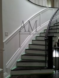 Round Curved Staircase Wainscot   Modern Wainscoting ...
