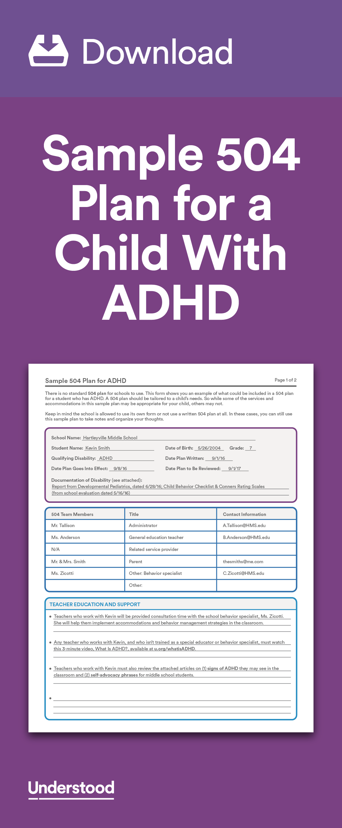 Download Sample 504 Plan For A Child With Adhd