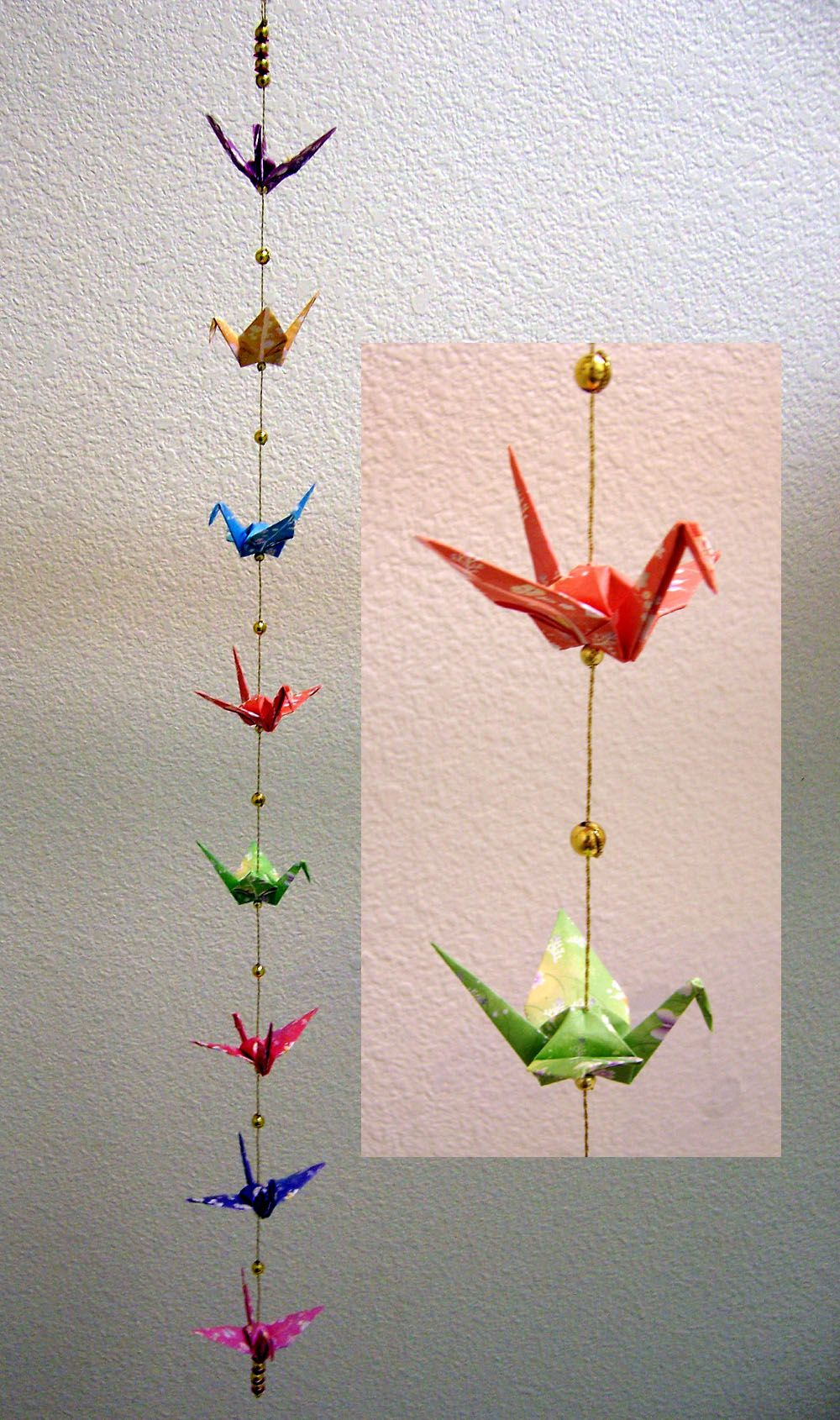 hanging origami cranes with beads  Google Search  plum