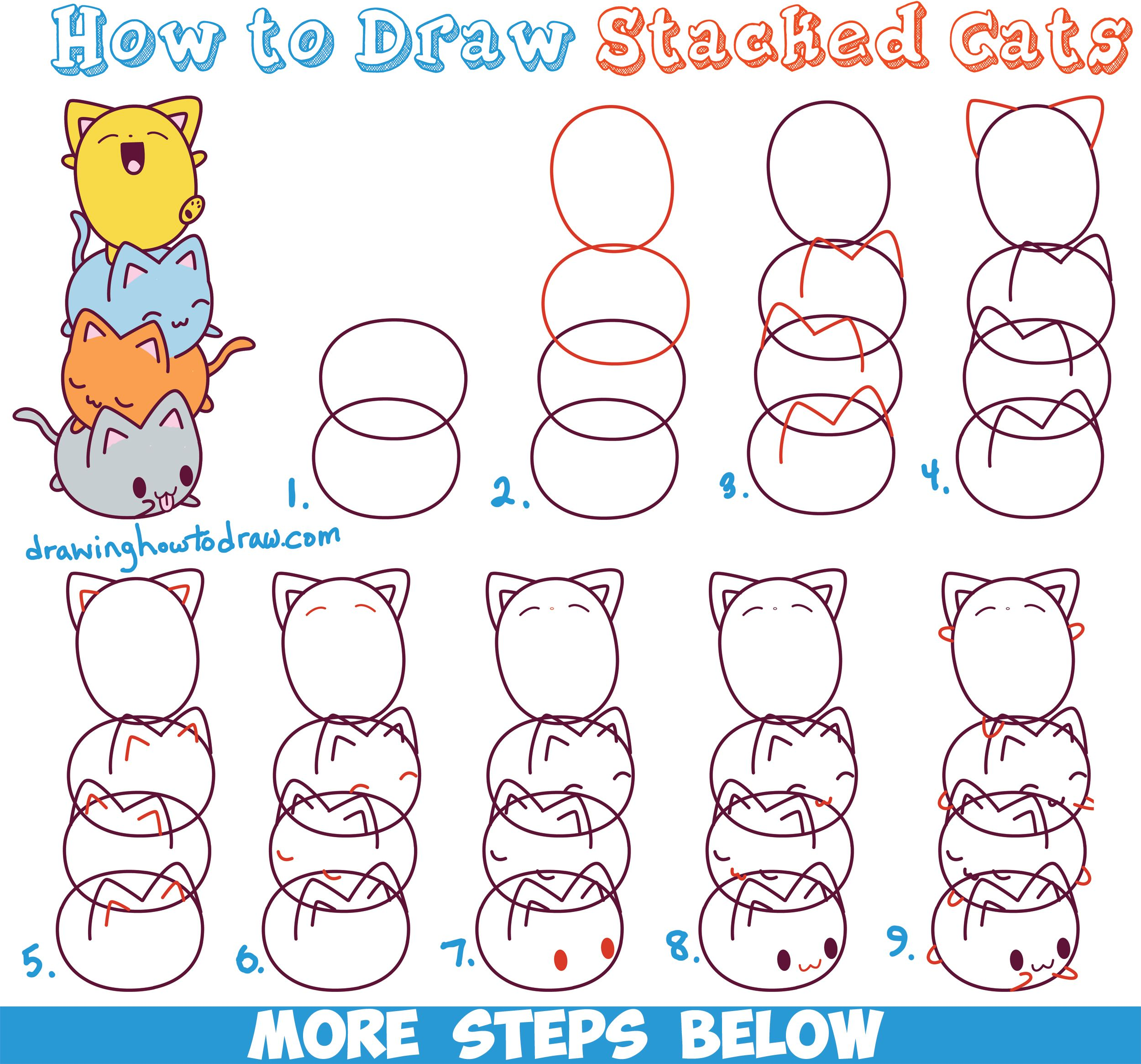 Easy Drawing Tutorials Of Animals How To Draw Cute Kawaii Animals