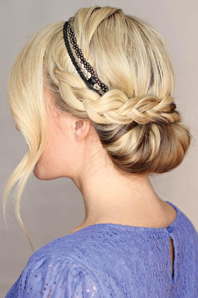 Eindrehfrisur Mit Haarband Und Zopf Frisuren Pinterest Zopf