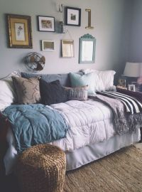 I love these COLORS for bedroom!! It's cozy, grown-up ...