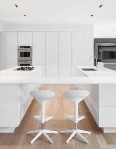 Contemporary twin kitchen workstations with  suspended breakfast bar decoist house interior designkitchen also rh pinterest