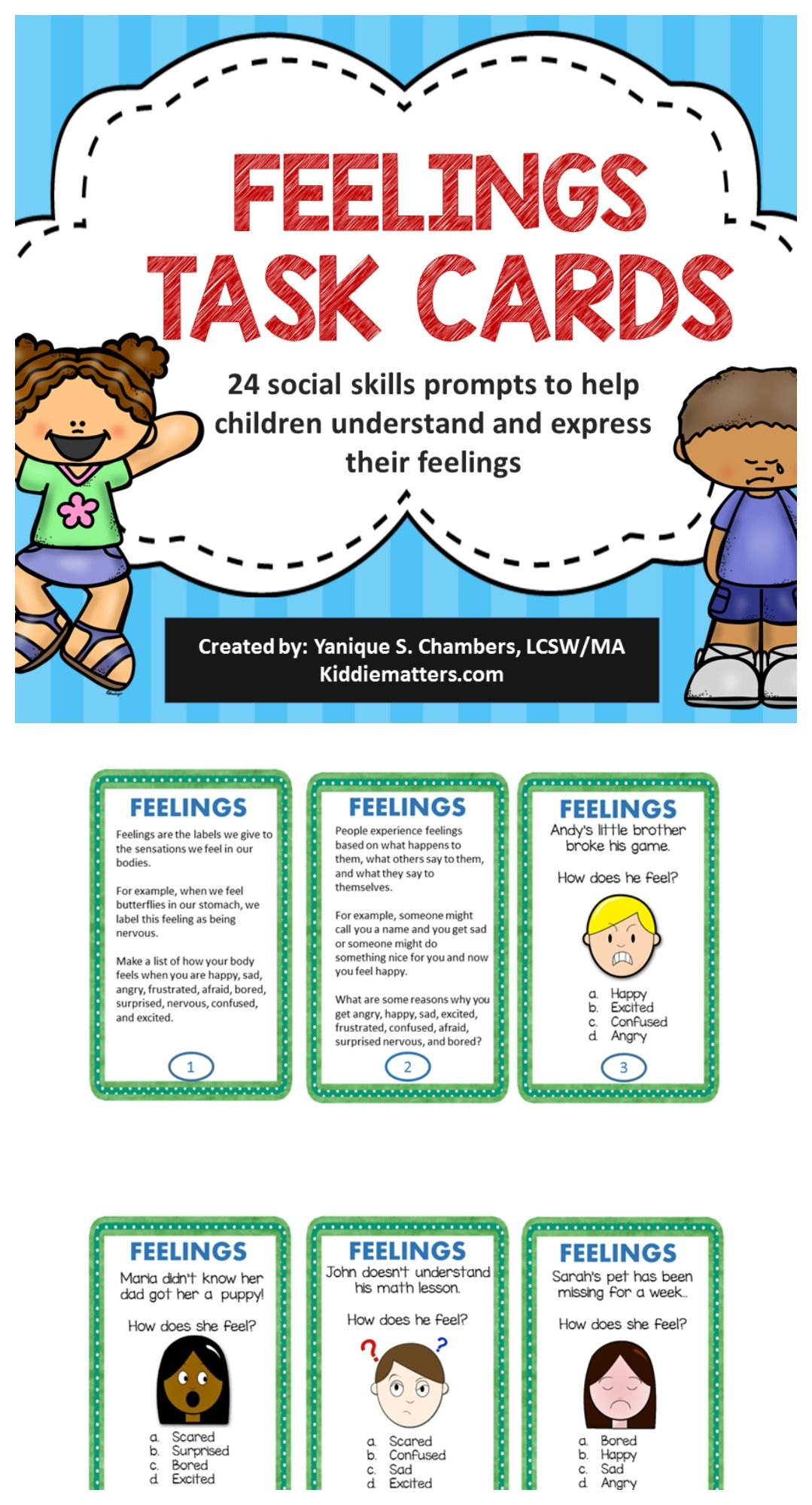 Feelings Task Cards To Help Children Develop Emotion Regulation Skills This Product Contains 24