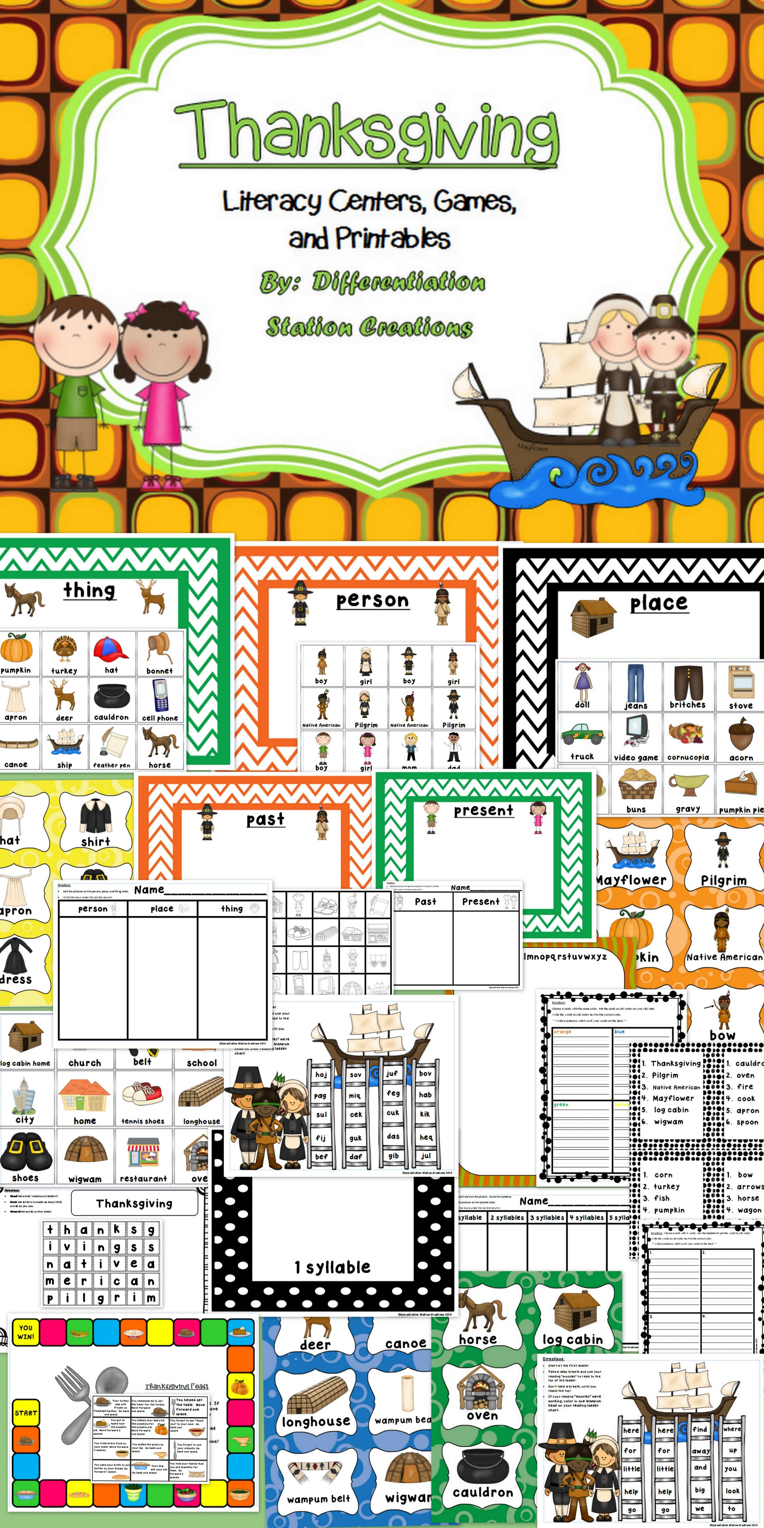 Thanksgiving Literacy Centers Games And Printables