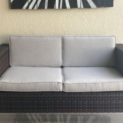 Sunbrella Sofa Cushions Lounge Cafe Amman Menu Custom Outdoor Grey Made With