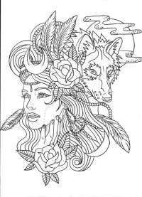 Wolf girl colouring page   Coloring Pages 4 Adults ...