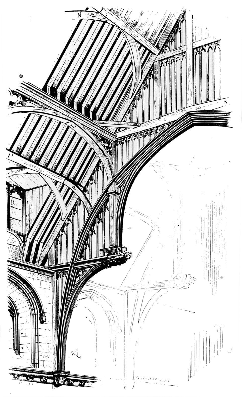 Westminster Hall roof. Drawing by Viollet-le-Duc from
