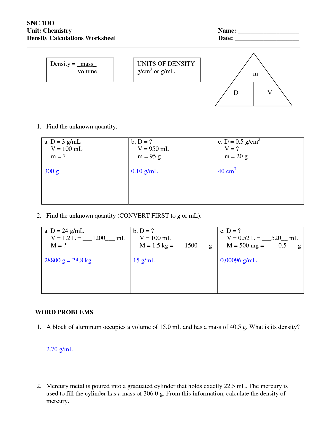27 Density Practice Problems Worksheet Answers