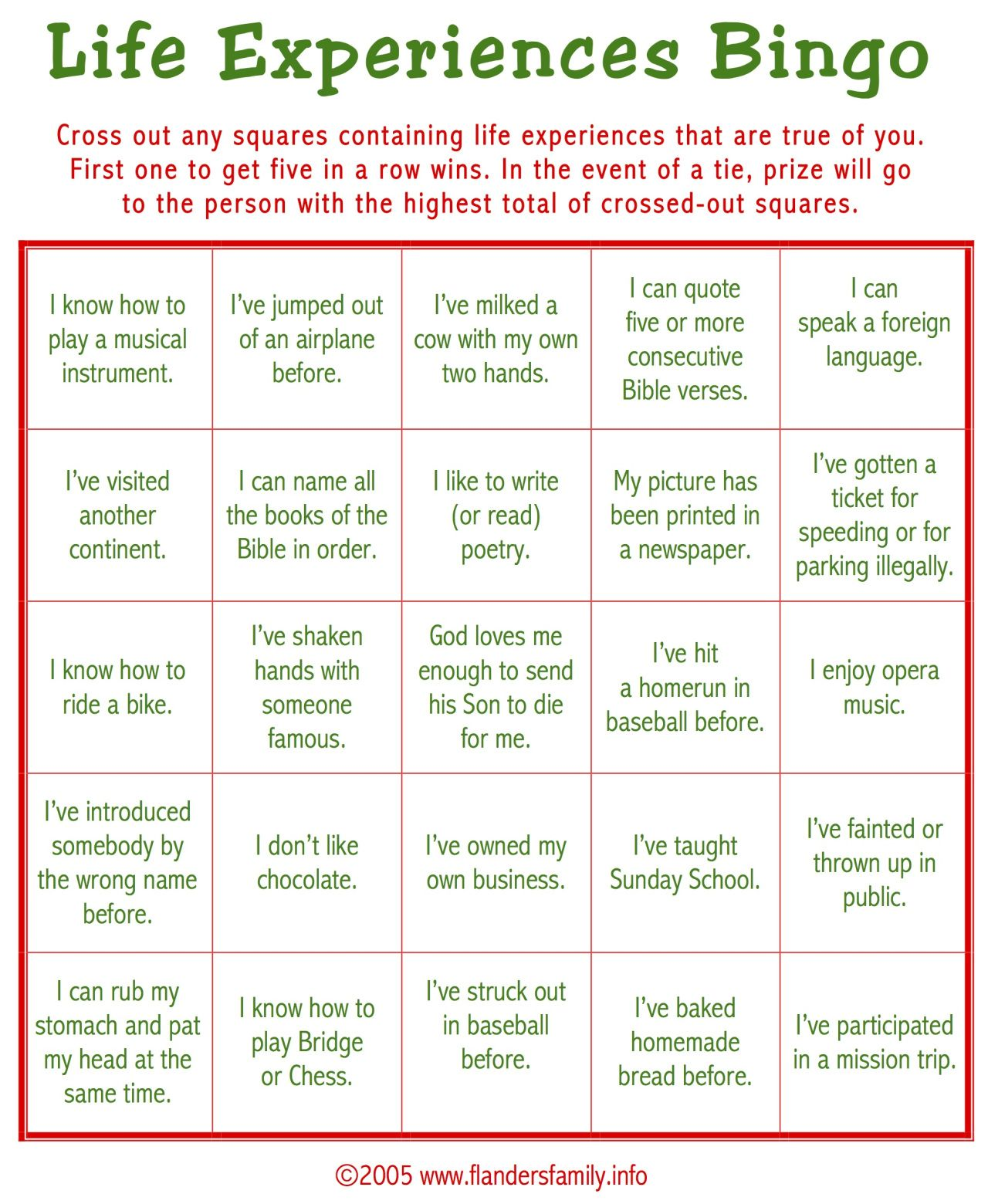 Ice Breaker Bingo For Adults