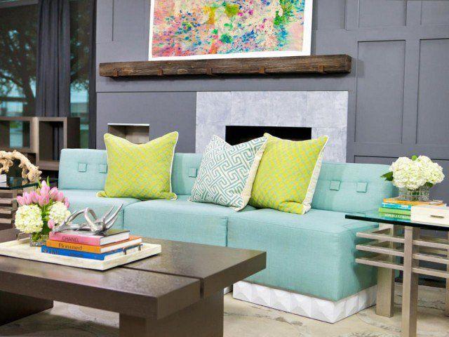 Amenagement Salon Moderne Murs Gris Anthracite Canape Aigue Marine Also Bleu  Turquoise Et En Idees De