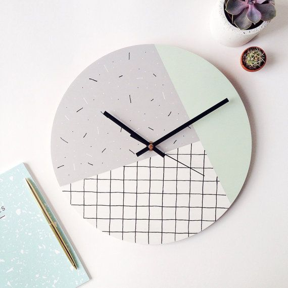 Modern Wall Clock Mint Green Grey White Memphis Inspired