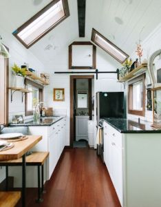 Lux tiny house on wheelsportland oregon built bytinyheirloom  small housesinside also rh pinterest