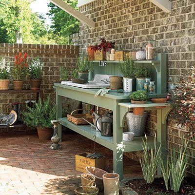 Courtyard Potting Bench Senoia Georgia Idea House Tour Gardens