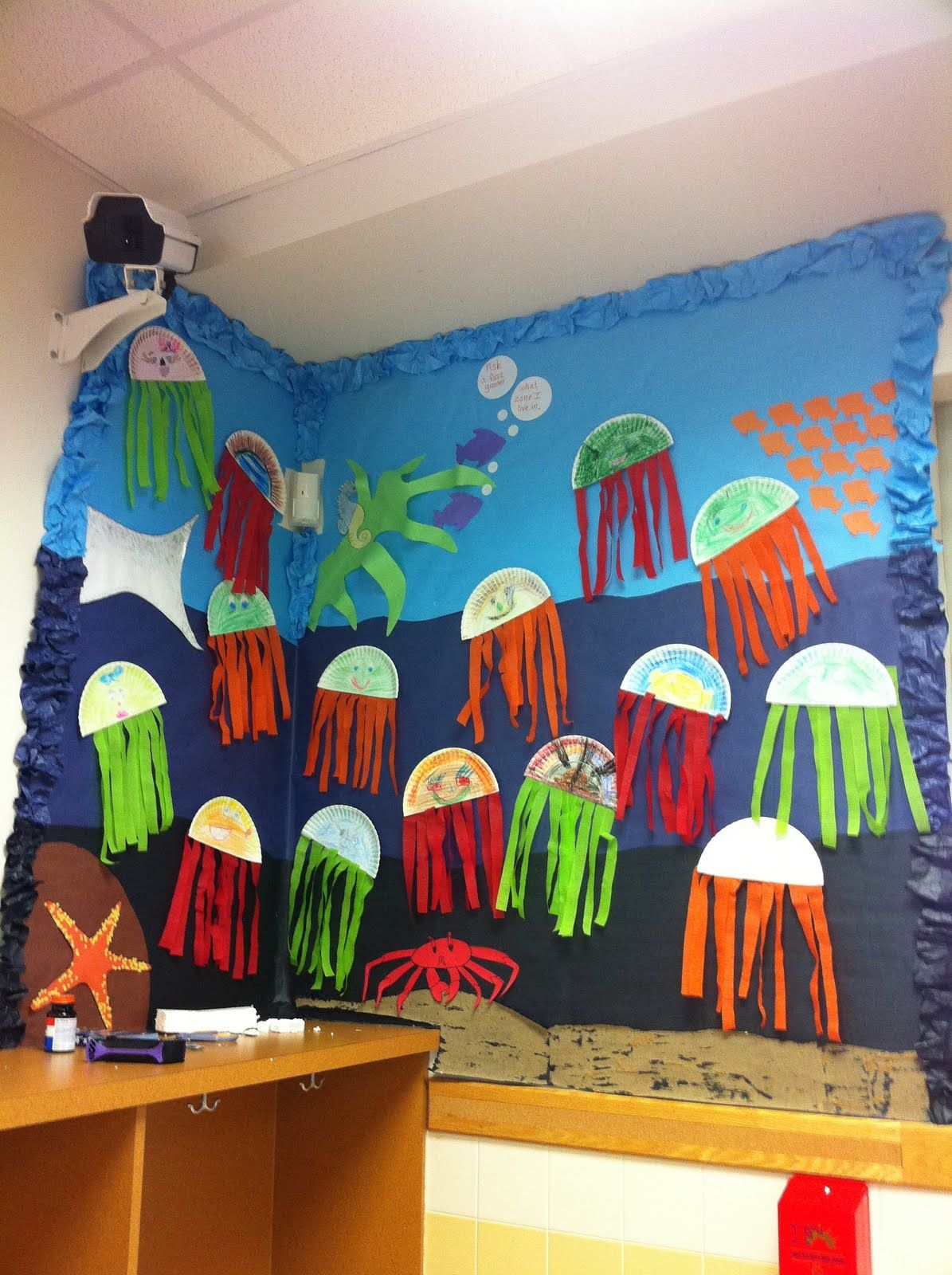 Jellyfish Made From Strips Of Colored Crepe Paper For A