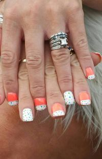 Bright neon coral gel polish nails with white French tip ...