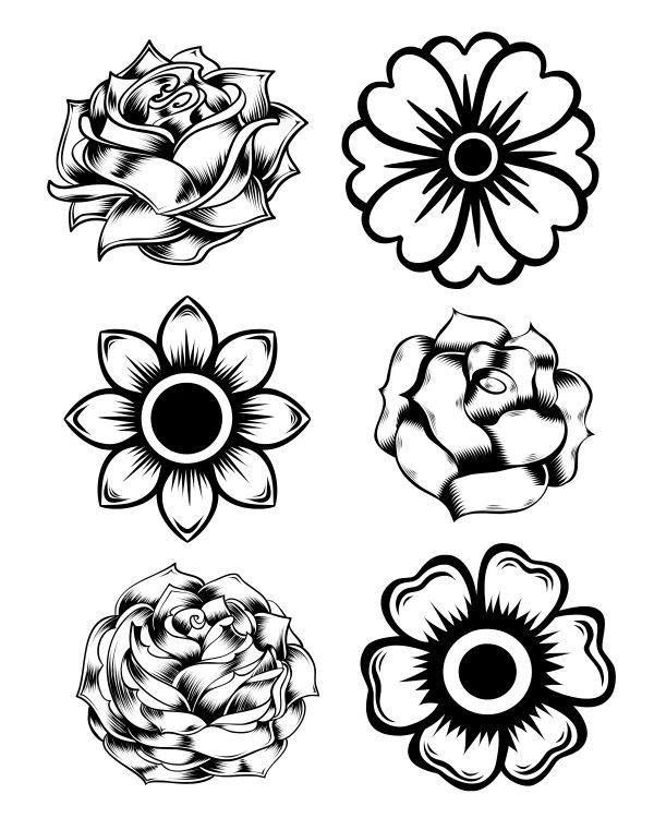 Free Printable Rose and Marigold Flowers Coloring Page