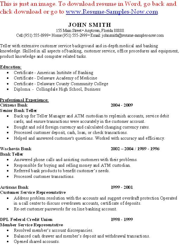 Entry Level Bank Teller Resume Resume Ideas