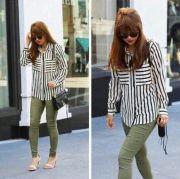 army green pants striped shirt