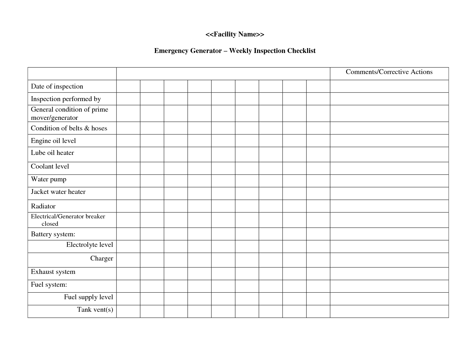 Generator Checklist Template Generator Prestart Check List Tuffa Products Engine Generator