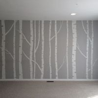 Hand painted birch tree wall mural - made by taping off ...