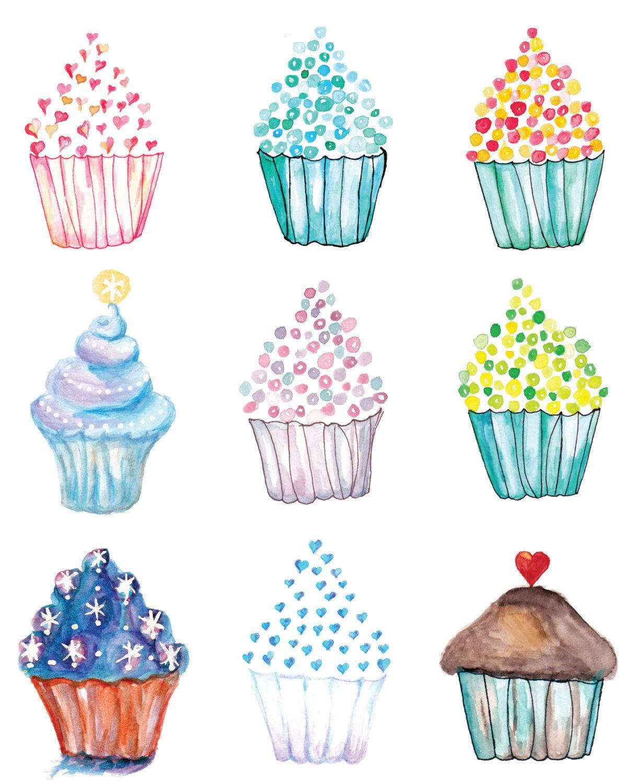 Cupcake Poster Watercolor Cupcakes Cupcake Art Birthday