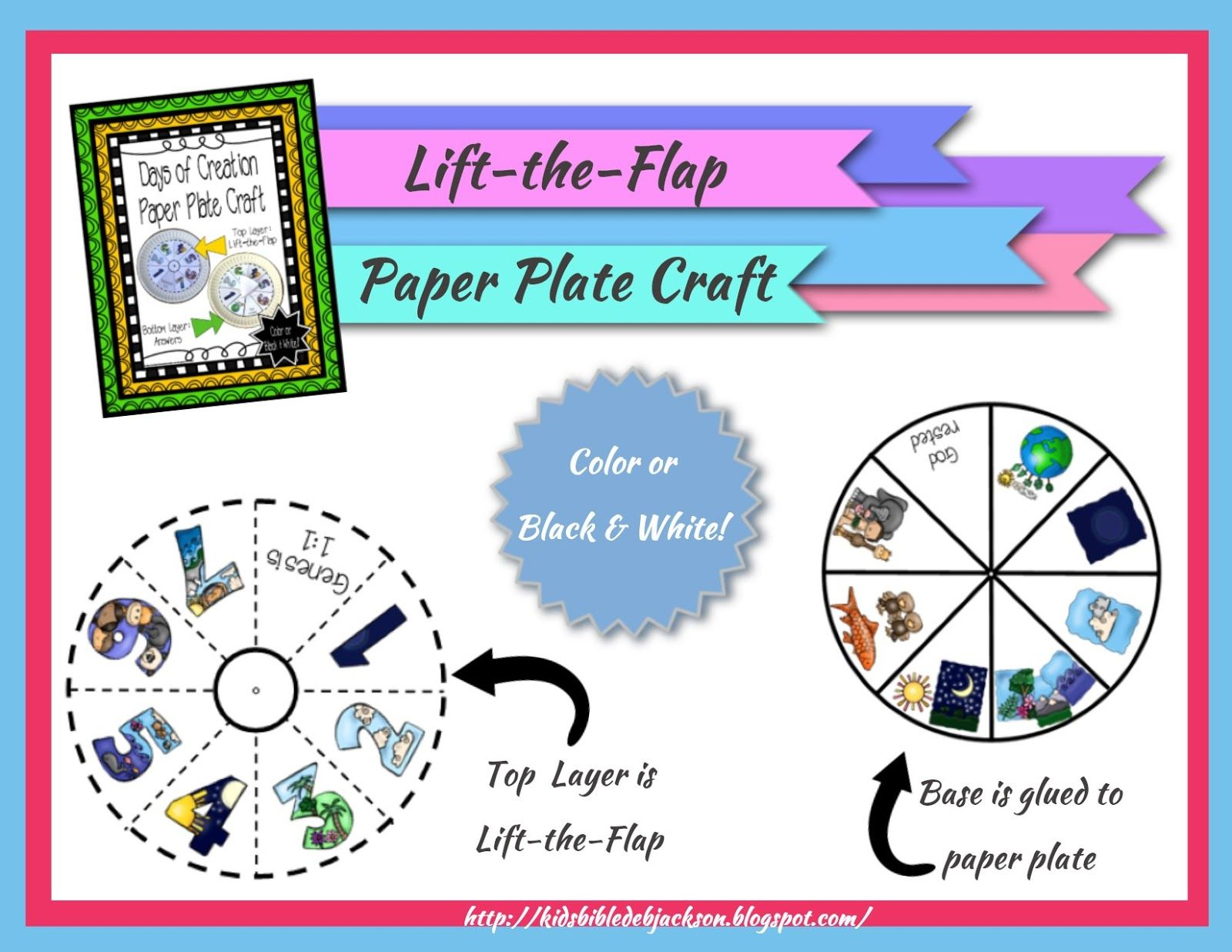 The Creation For Kids Day 7 Paper Plate Project Printable In Color Amp Black Amp White